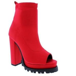 RED PEEP TOE ANKLE BOOTIE